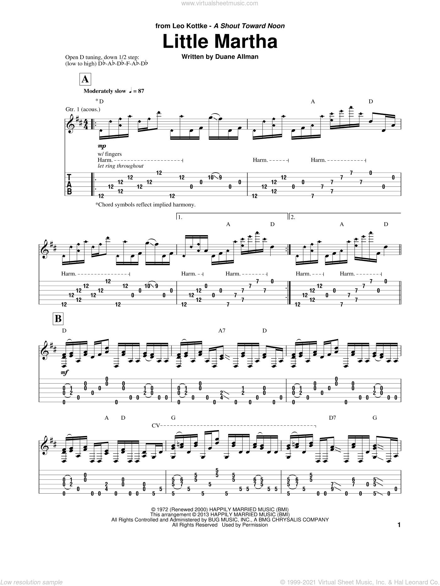 Little Martha sheet music for guitar solo by Duane Allman and Leo Kottke, intermediate skill level
