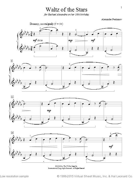 Waltz Of The Stars sheet music for piano solo (elementary) by Alexander Peskanov