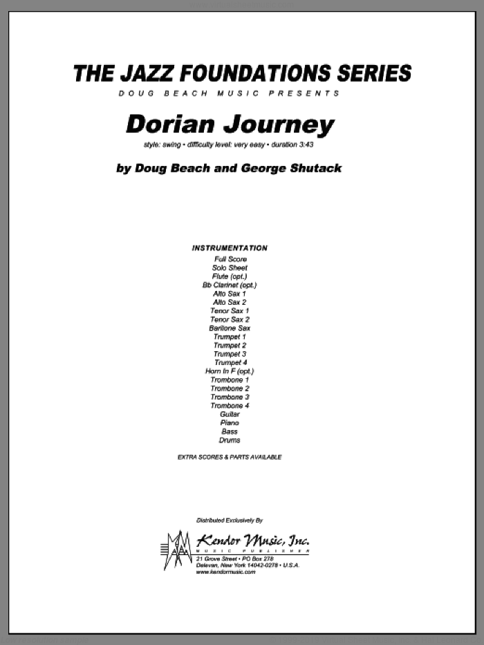 Dorian Journey (COMPLETE) sheet music for jazz band by Beach, Shutack, intermediate skill level