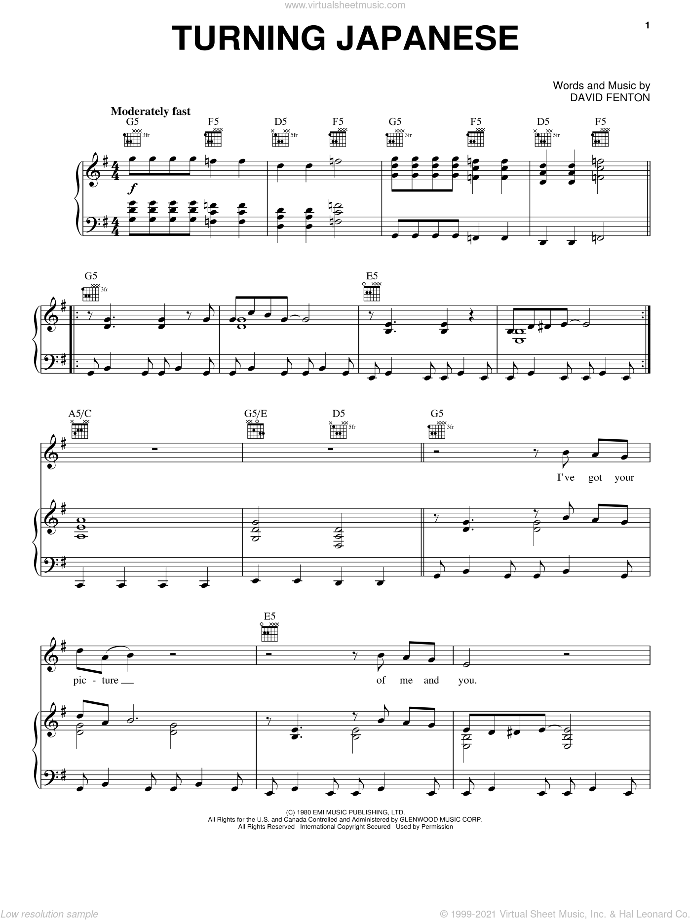 Turning Japanese sheet music for voice, piano or guitar by The Vapors and David Fenton, intermediate skill level