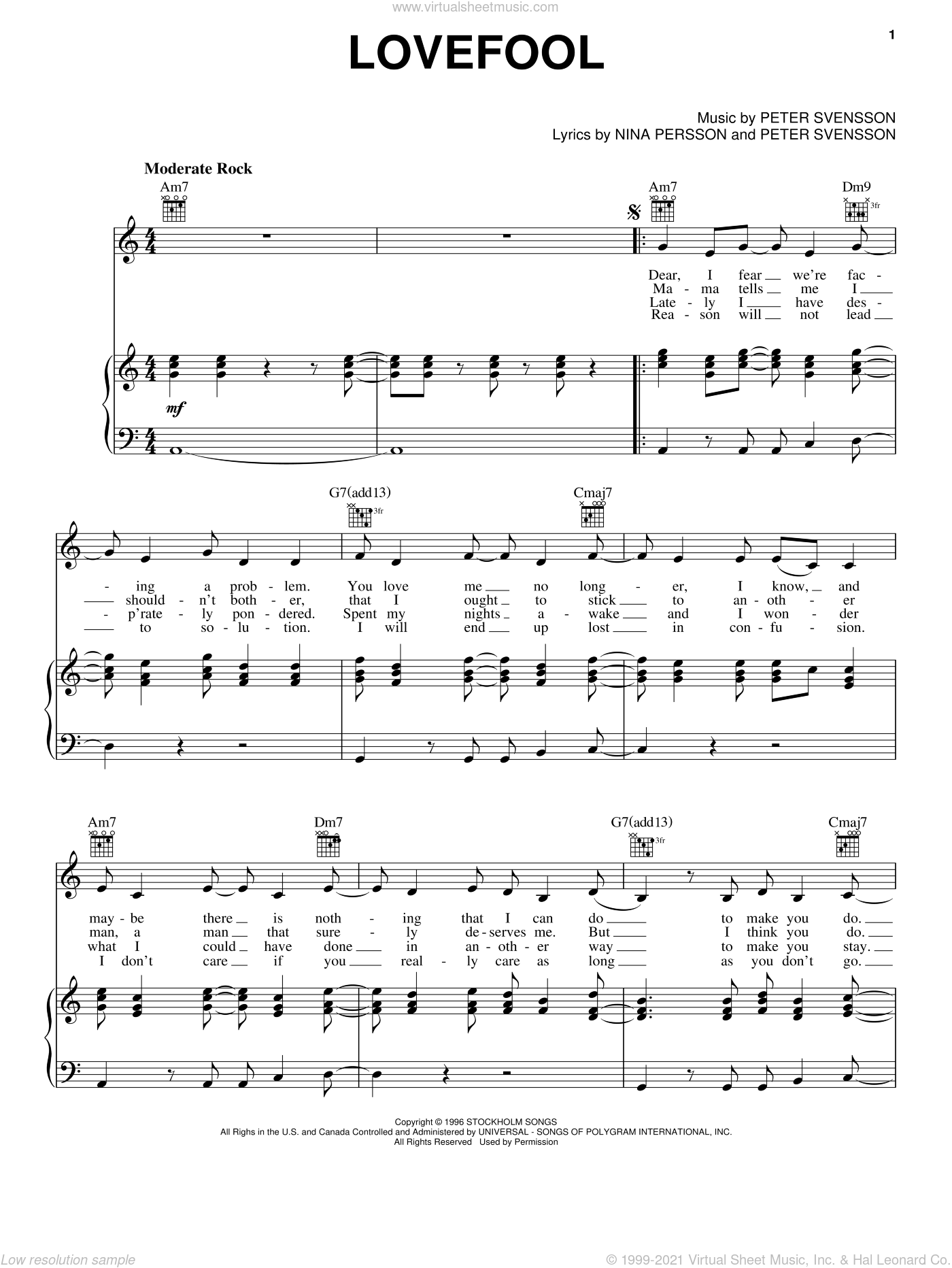 Lovefool sheet music for voice, piano or guitar by The Cardigans, intermediate. Score Image Preview.