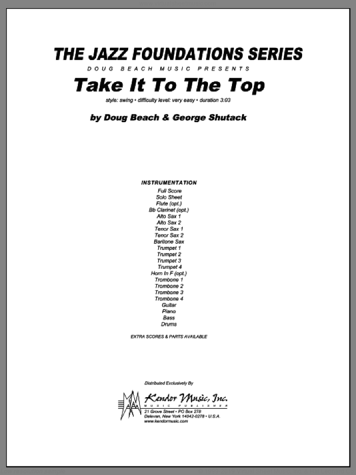 Take It To The Top (COMPLETE) sheet music for jazz band by Beach, Shutack, intermediate