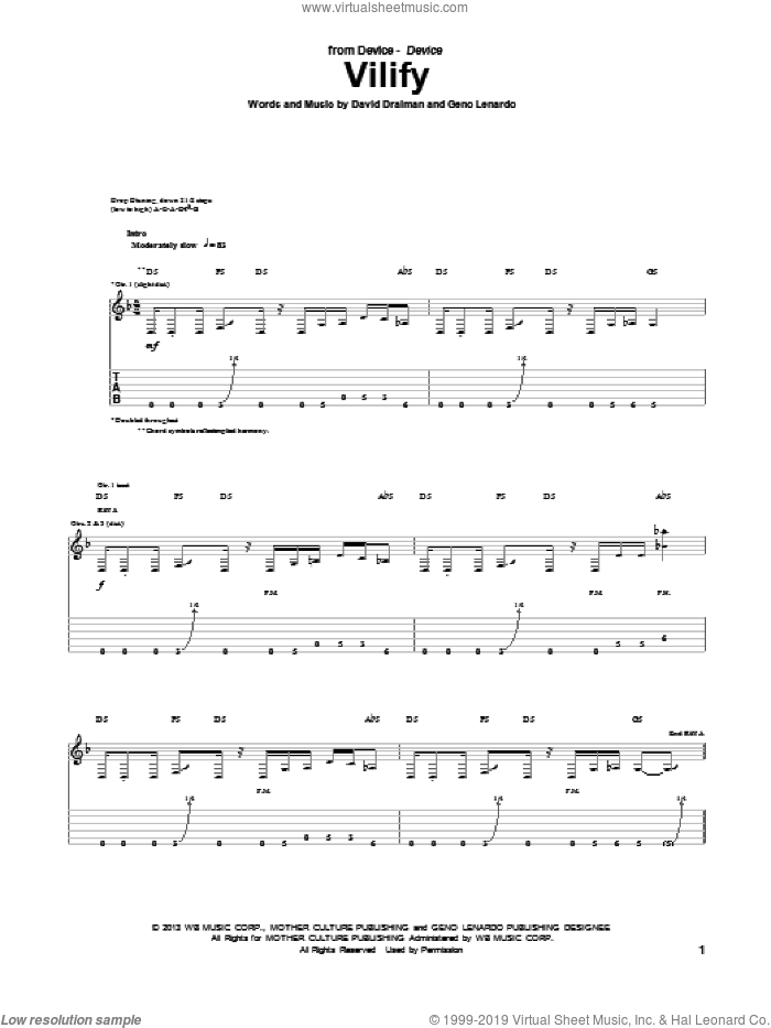 Vilify sheet music for guitar (tablature) by Device, intermediate skill level