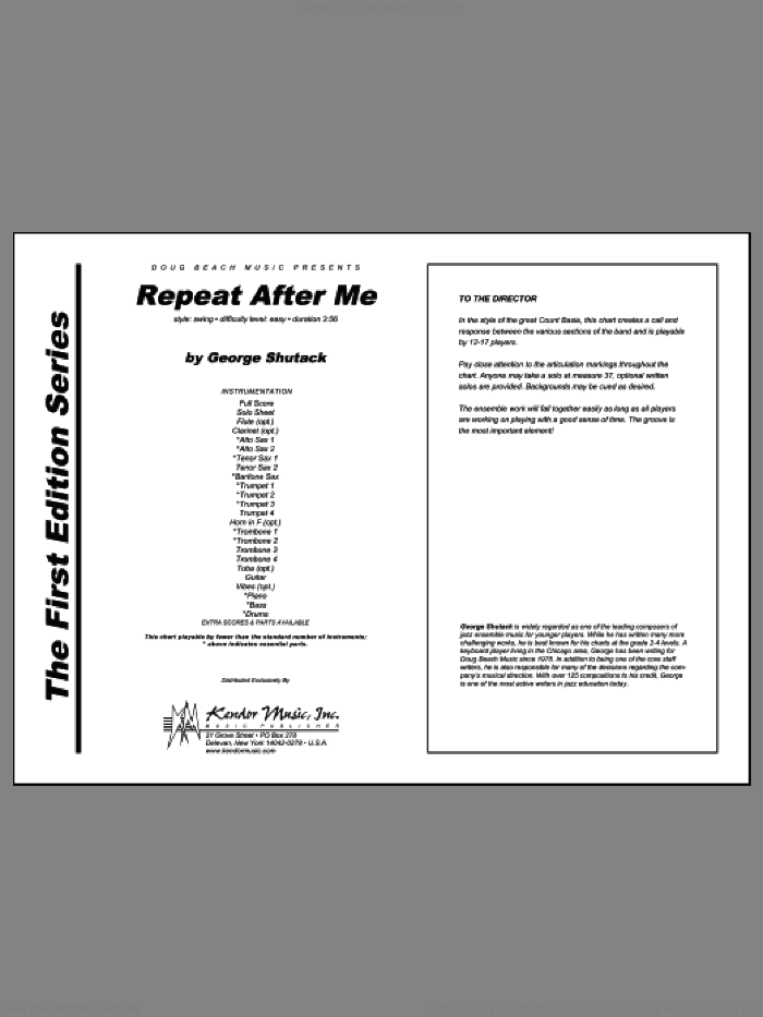 Repeat After Me (COMPLETE) sheet music for jazz band by Shutack, intermediate jazz band. Score Image Preview.