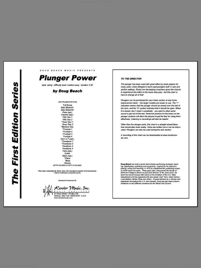 Plunger Power (COMPLETE) sheet music for jazz band by Beach, intermediate jazz band. Score Image Preview.