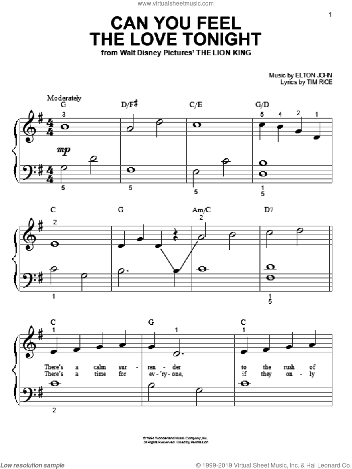 Can You Feel The Love Tonight (from The Lion King) sheet music for piano solo (big note book) by Elton John and Tim Rice, easy piano (big note book)
