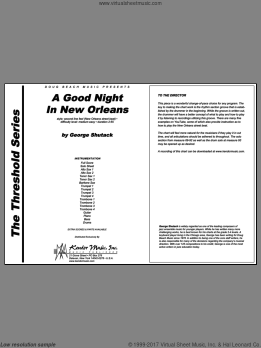 A Good Night In New Orleans (COMPLETE) sheet music for jazz band by Shutack