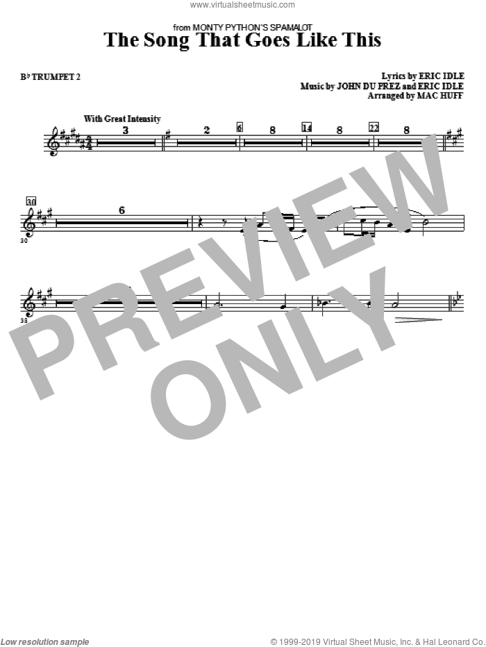 The Song That Goes like This sheet music for orchestra/band (bb trumpet 2) by Mac Huff, Eric Idle and John Du Prez, intermediate skill level