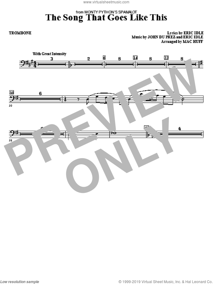 The Song That Goes like This sheet music for orchestra/band (trombone) by John Du Prez