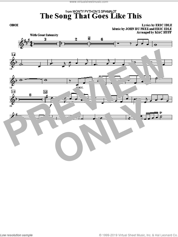 The Song That Goes like This sheet music for orchestra/band (oboe) by Mac Huff, Eric Idle and John Du Prez, intermediate skill level
