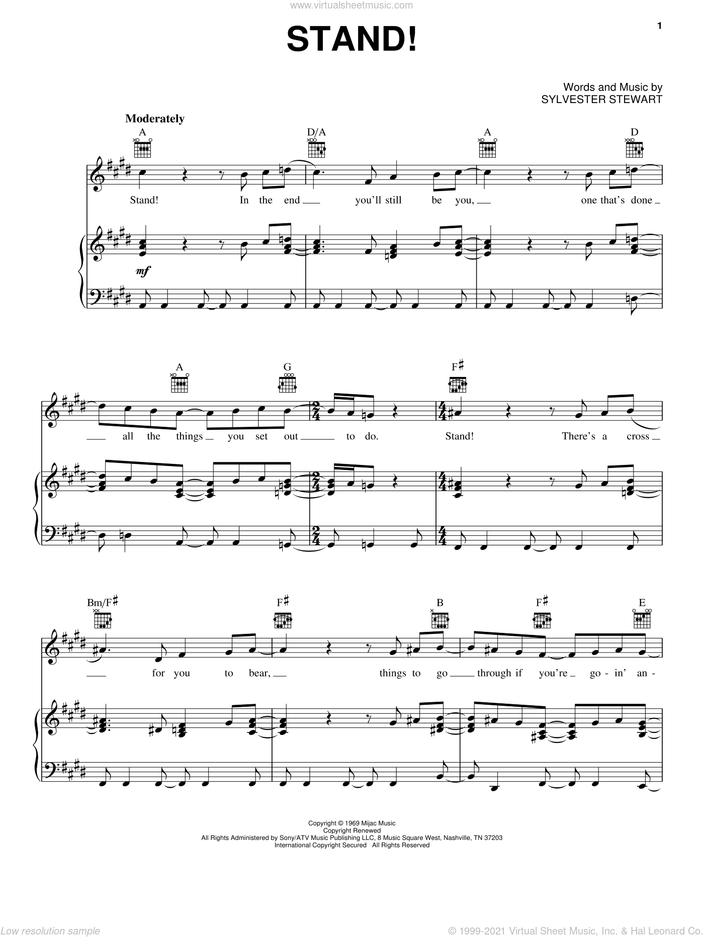 Stand! sheet music for voice, piano or guitar by Sly And The Family Stone and Sylvester Stewart, intermediate skill level