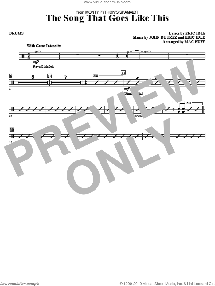 The Song That Goes like This sheet music for orchestra/band (drums) by Mac Huff, Eric Idle and John Du Prez, intermediate skill level