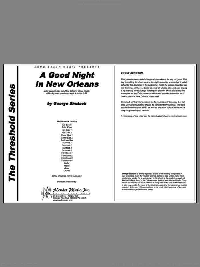 A Good Night In New Orleans (COMPLETE) sheet music for jazz band by Shutack, classical score, intermediate skill level