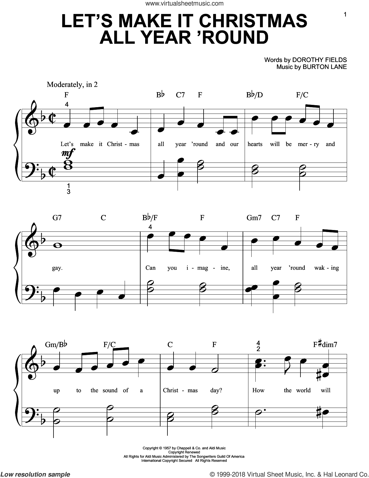 Let's Make It Christmas All Year 'Round sheet music for piano solo (big note book) by Burton Lane and Dorothy Fields, easy piano (big note book)