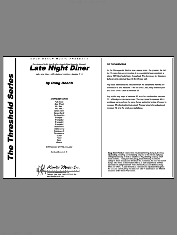 Late Night Diner (COMPLETE) sheet music for jazz band by Beach, intermediate skill level