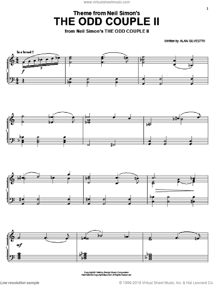 Theme from Neil Simon's The Odd Couple II sheet music for piano solo by Alan Silvestri, intermediate skill level
