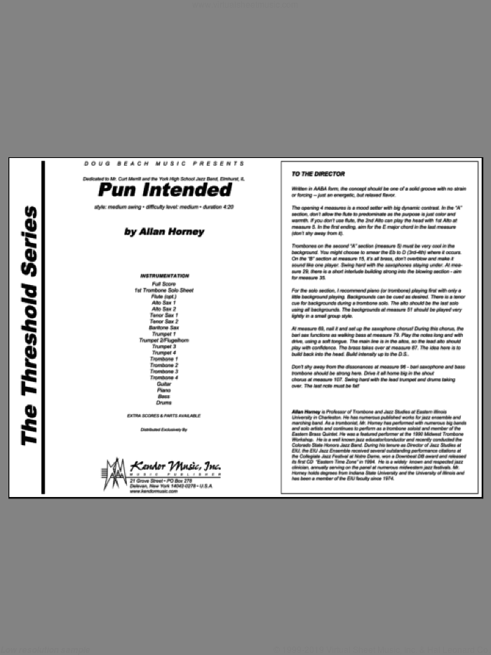 Pun Intended (COMPLETE) sheet music for jazz band by Horney, intermediate jazz band. Score Image Preview.