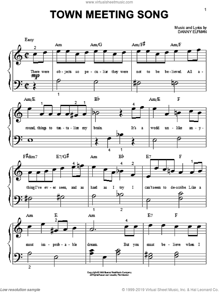 Nightmare Before Christmas Piano Sheet Music.Elfman Town Meeting Song From The Nightmare Before Christmas Sheet Music For Piano Solo Big Note Book