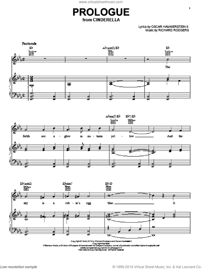 Prologue sheet music for voice, piano or guitar by Rodgers & Hammerstein, Oscar II Hammerstein and Richard Rodgers, intermediate voice, piano or guitar. Score Image Preview.