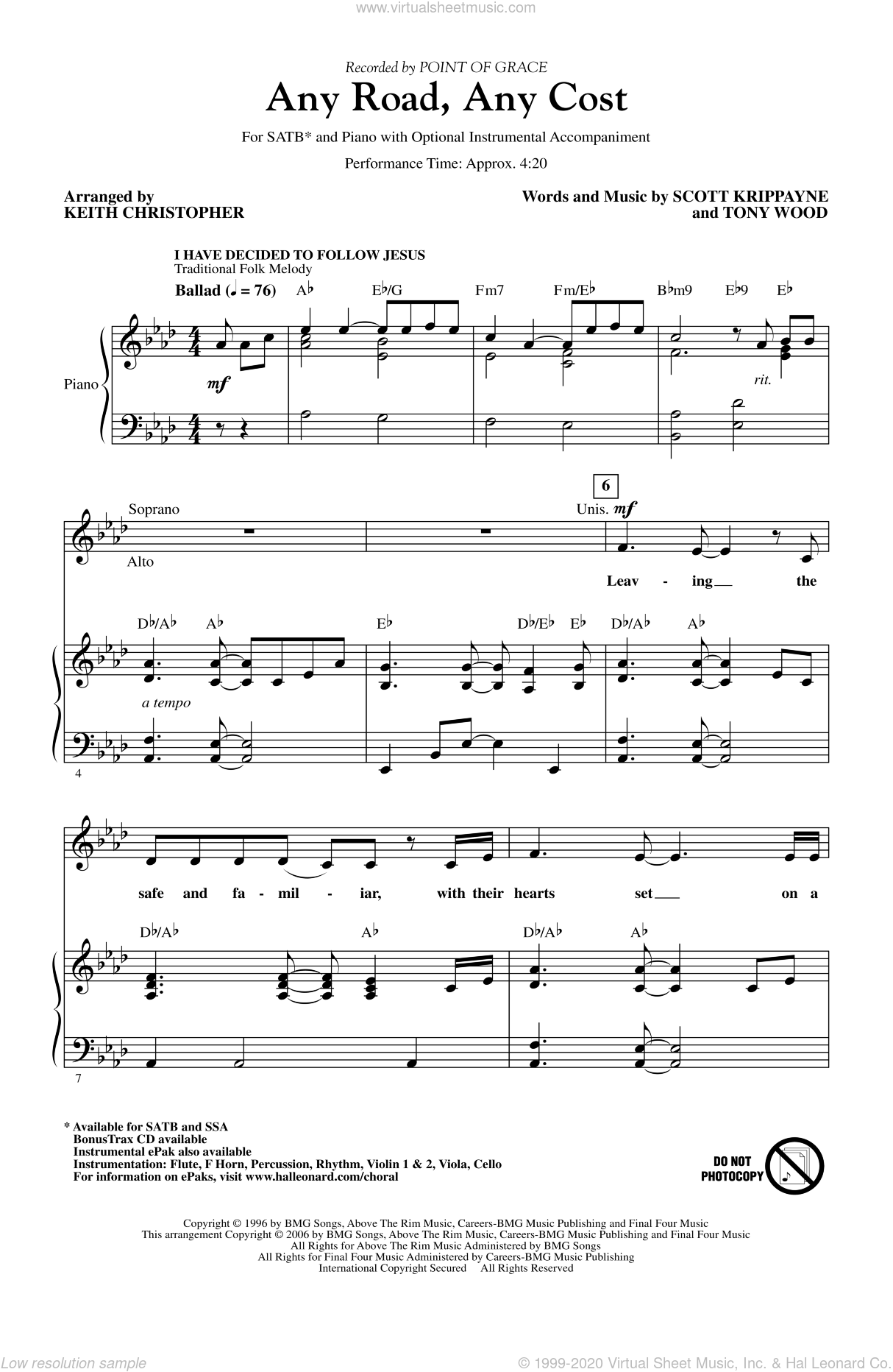 Any Road, Any Cost sheet music for choir (SATB: soprano, alto, tenor, bass) by Keith Christopher and Point Of Grace, intermediate skill level
