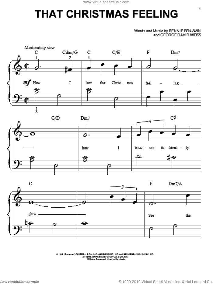 That Christmas Feeling sheet music for piano solo (big note book) by Bennie Benjamin