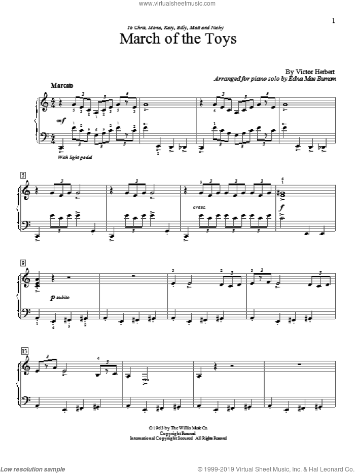March Of The Toys sheet music for piano solo (elementary) by Victor Herbert, Carolyn C. Setliff, Carolyn Miller, Edna Mae Burnam, Edna Mae Burnam (arr.), Glenda Austin, Katherine Beard, Melody Bober and William Gillock, beginner piano (elementary)