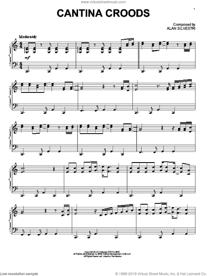 Cantina Croods sheet music for piano solo by Alan Silvestri