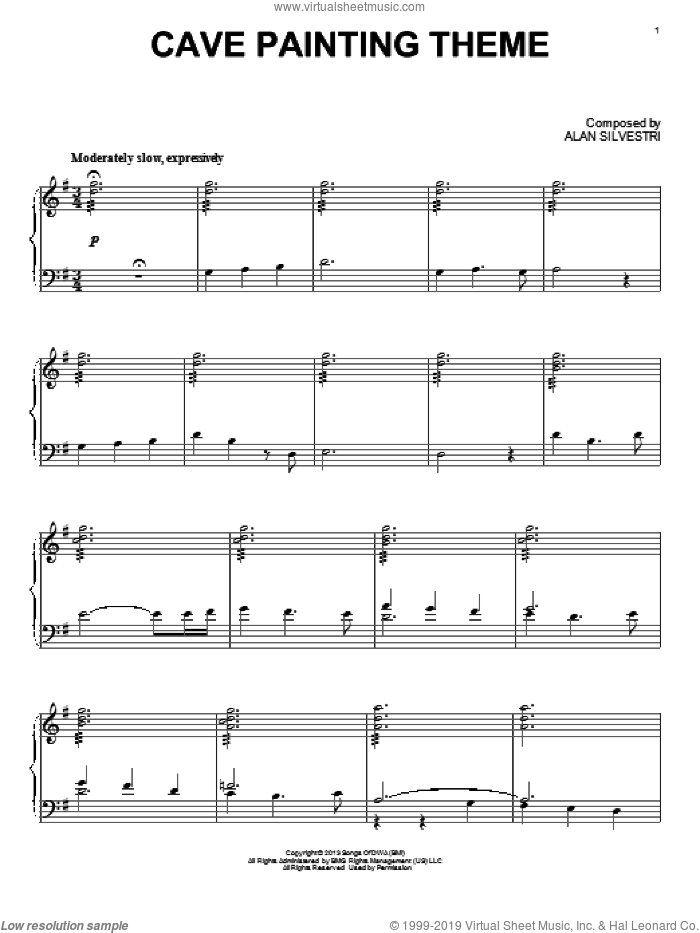 Cave Painting Theme sheet music for piano solo by Alan Silvestri. Score Image Preview.