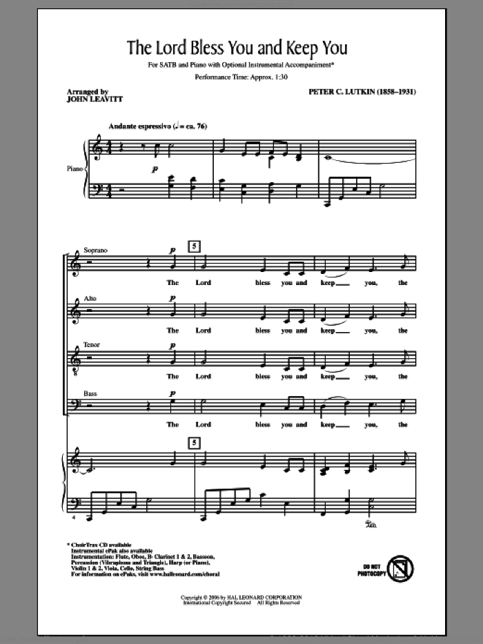 Lord Bless You And Keep You sheet music for choir (SATB: soprano, alto, tenor, bass) by John Leavitt and Peter Lutkin, intermediate skill level