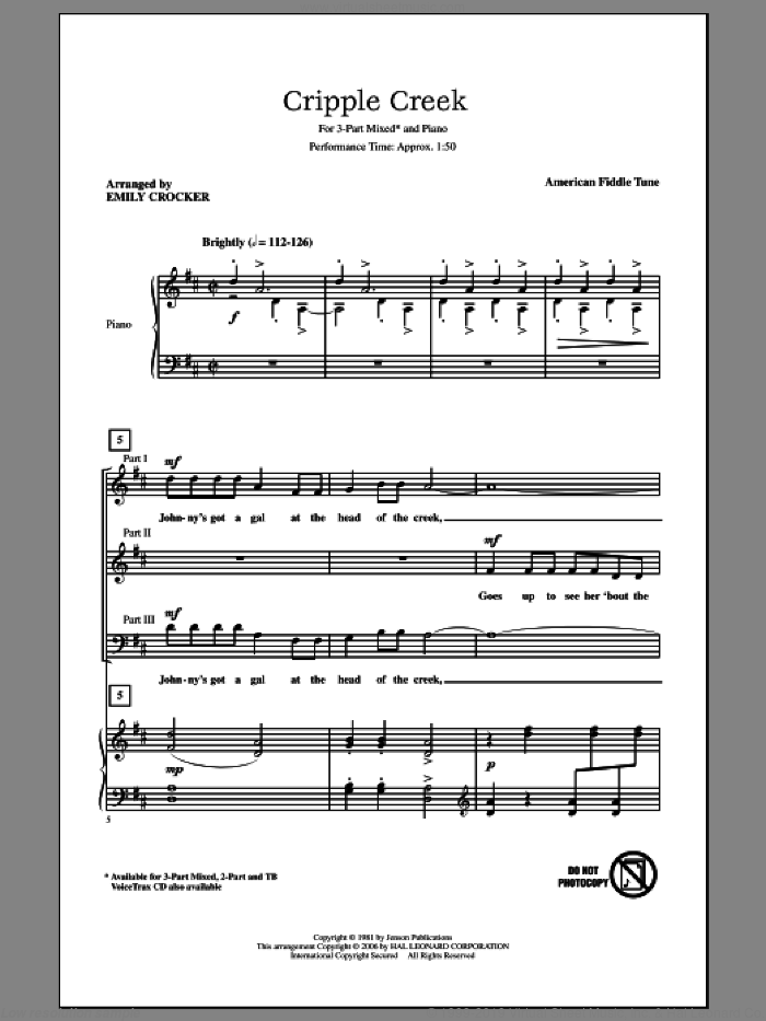 Cripple Creek sheet music for choir (chamber ensemble) by Emily Crocker and Miscellaneous, intermediate. Score Image Preview.