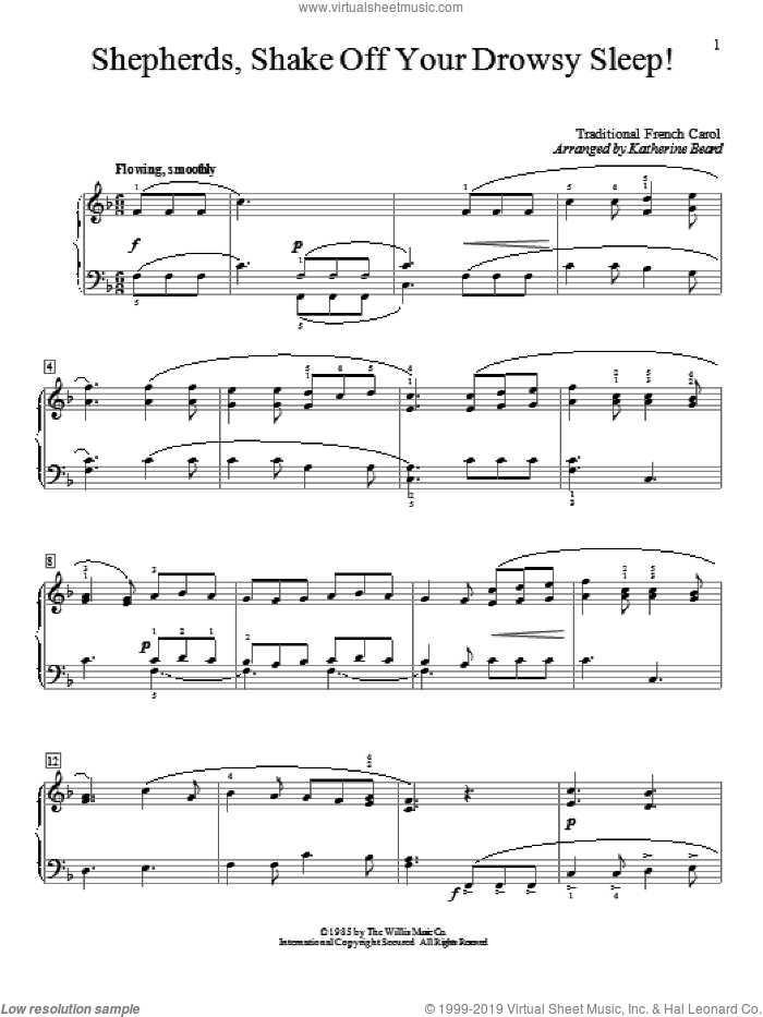 Shepherds, Shake Off Your Drowsy Sleep! sheet music for piano solo (elementary)