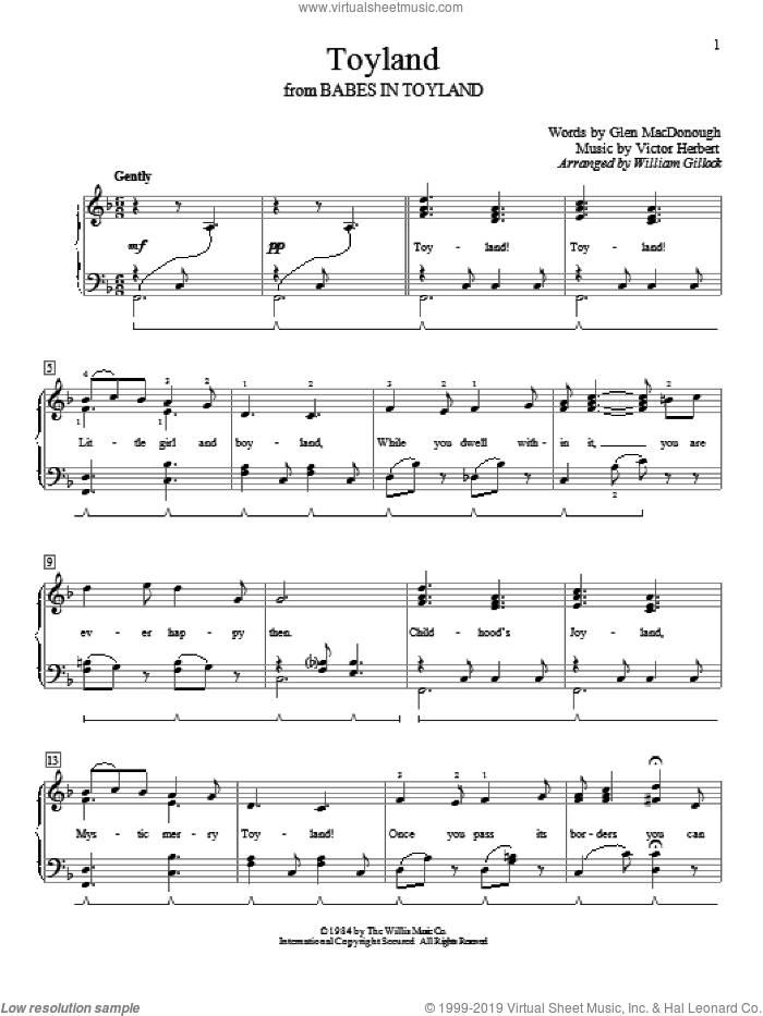 Toyland sheet music for piano solo (elementary) by Glen MacDonough