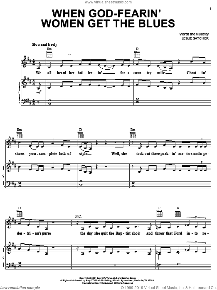 When God-Fearin' Women Get The Blues sheet music for voice, piano or guitar by Martina McBride and Leslie Satcher, intermediate. Score Image Preview.
