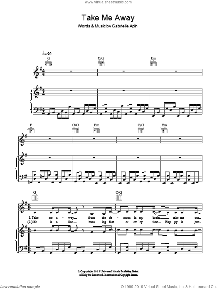 Take Me Away sheet music for voice, piano or guitar by Gabrielle Aplin, intermediate skill level