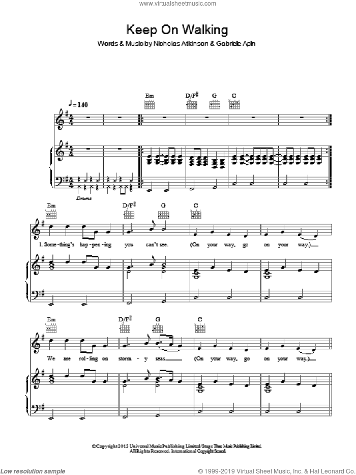 Keep On Walking sheet music for voice, piano or guitar by Nicholas Atkinson and Gabrielle Aplin. Score Image Preview.