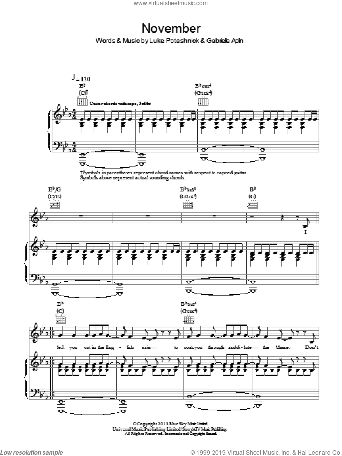 November sheet music for voice, piano or guitar by Luke Potashnick and Gabrielle Aplin. Score Image Preview.