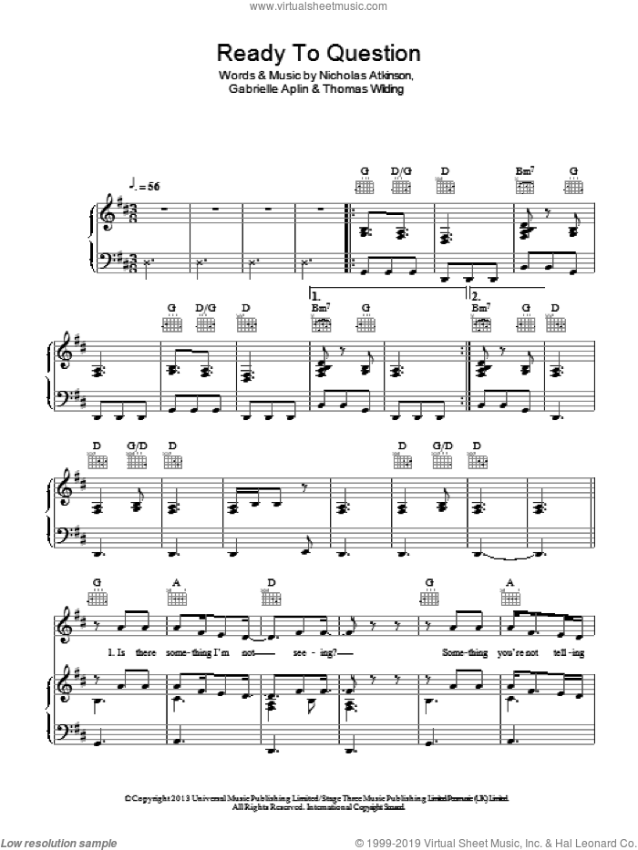 Ready To Question sheet music for voice, piano or guitar by Thomas Wilding, Gabrielle Aplin and Nicholas Atkinson. Score Image Preview.