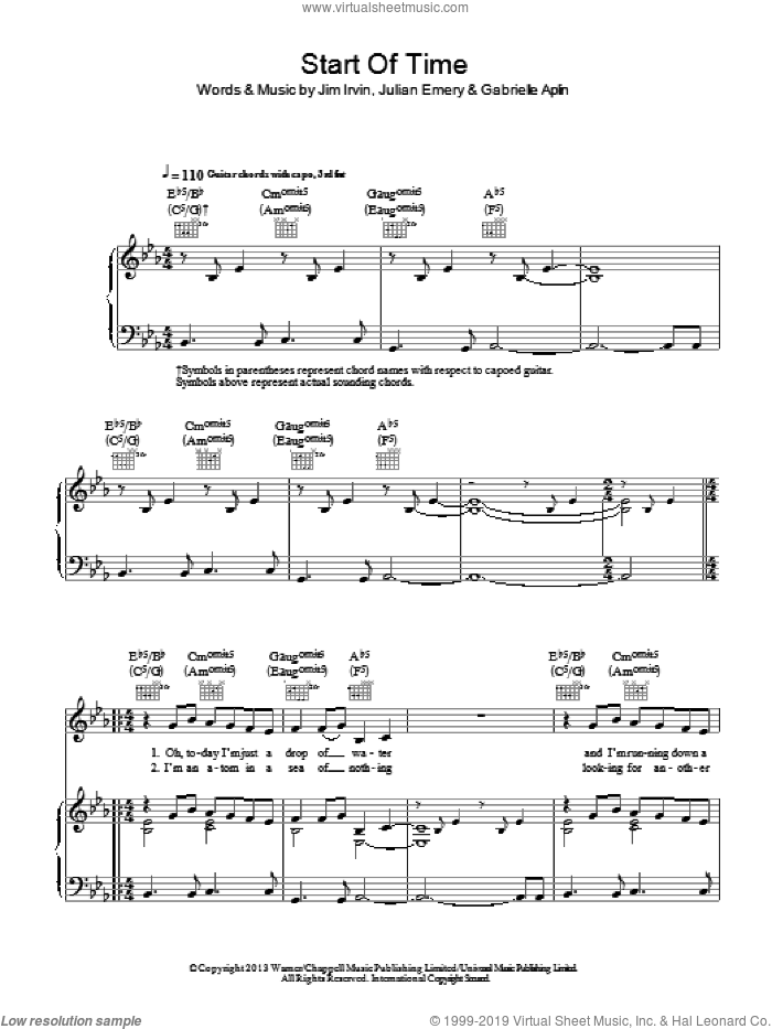 Start Of Time sheet music for voice, piano or guitar by Gabrielle Aplin. Score Image Preview.