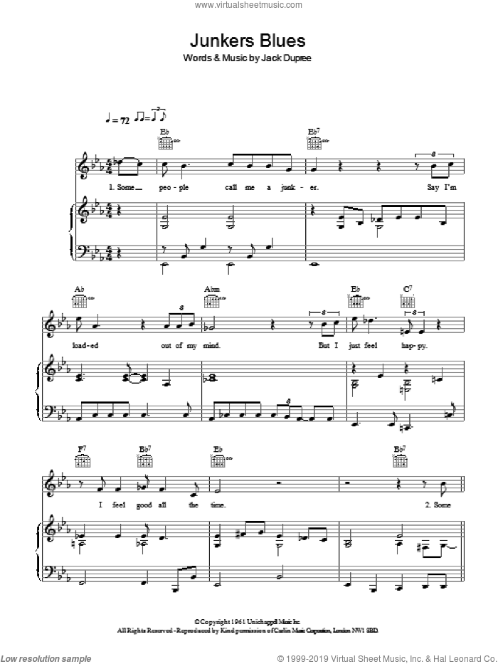 Junker's Blues sheet music for voice, piano or guitar by Hugh Laurie and Jack Dupree, intermediate skill level