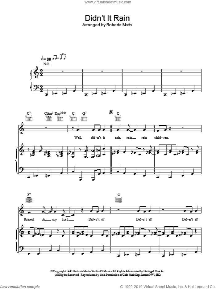 Didn't It Rain sheet music for voice, piano or guitar. Score Image Preview.