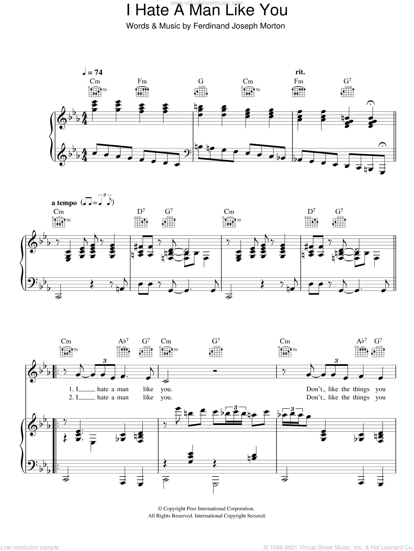 I Hate A Man Like You sheet music for voice, piano or guitar by Hugh Laurie and Ferdinand Joseph Morton, intermediate skill level