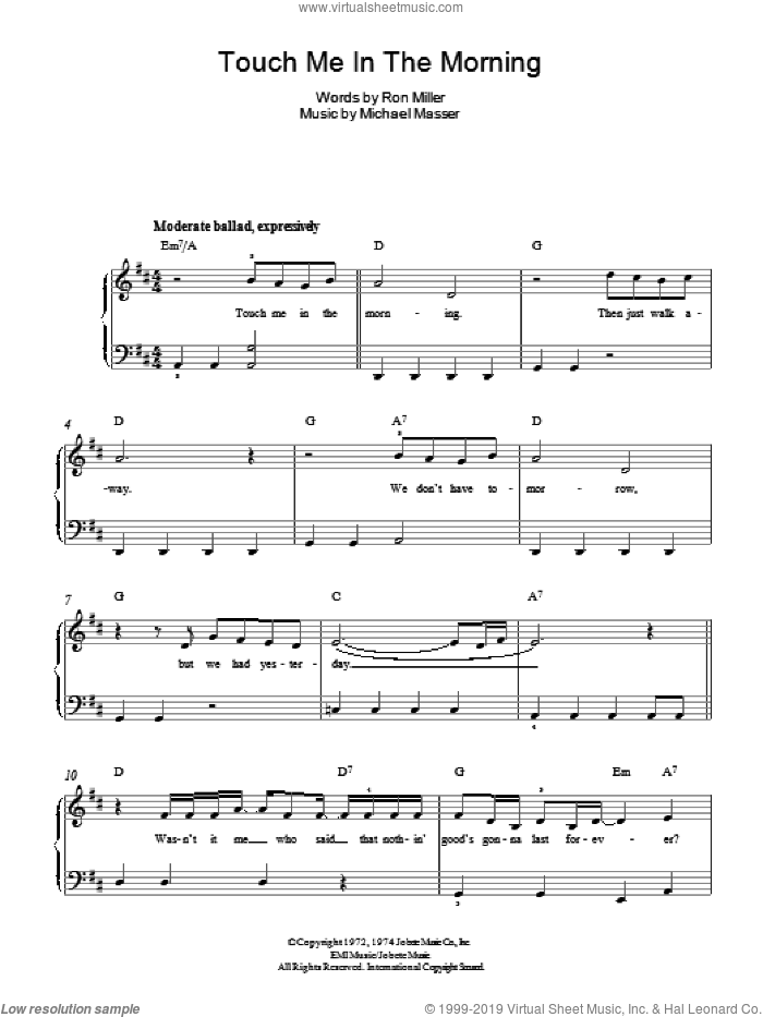 Touch Me In The Morning sheet music for piano solo by Diana Ross, Michael Masser and Ron Miller, easy skill level