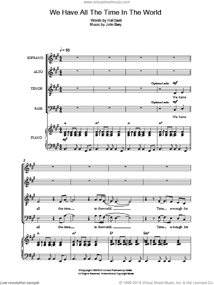 We Have All The Time In The World sheet music for choir by John Barry, Louis Armstrong and Hal David. Score Image Preview.