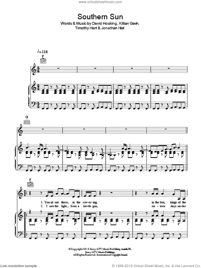 Southern Sun sheet music for voice, piano or guitar by Timothy Hart. Score Image Preview.