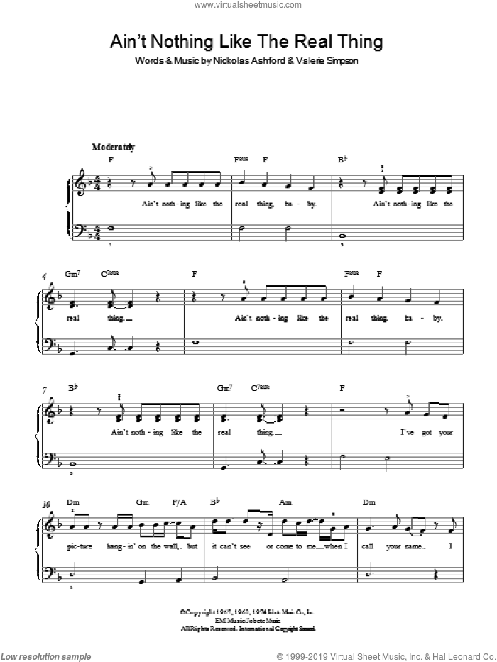 Ain't Nothing Like The Real Thing sheet music for piano solo (chords) by Valerie Simpson