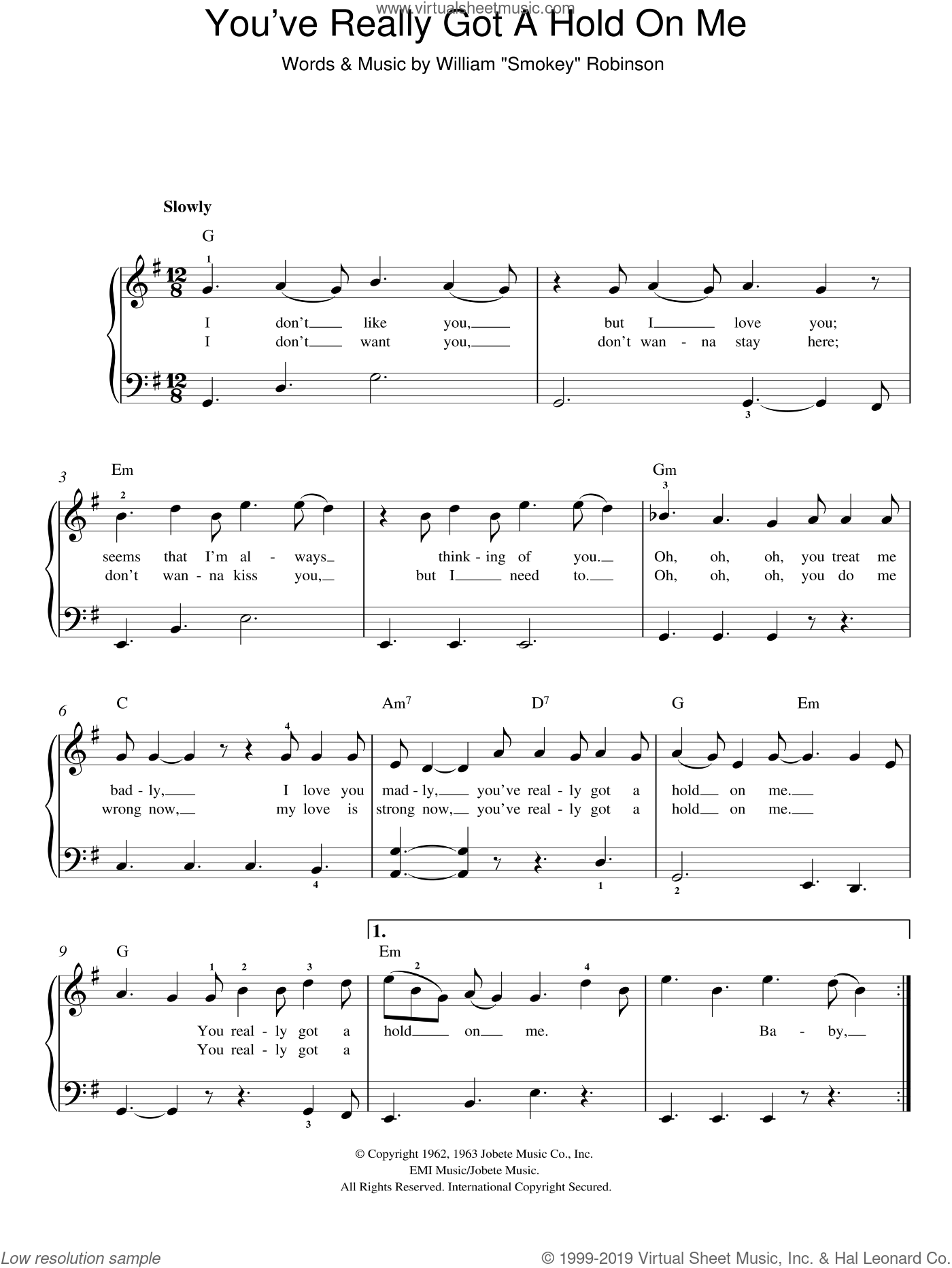 You've Really Got A Hold On Me sheet music for piano solo by The Miracles, easy skill level