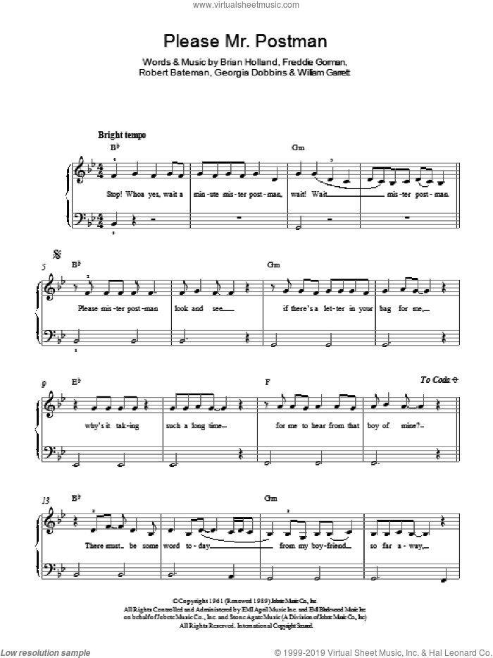 Please Mr. Postman sheet music for piano solo by The Marvelettes, Brian Holland, Freddie Gorman, Georgia Dobbins, Robert Bateman and William Garrett, easy skill level
