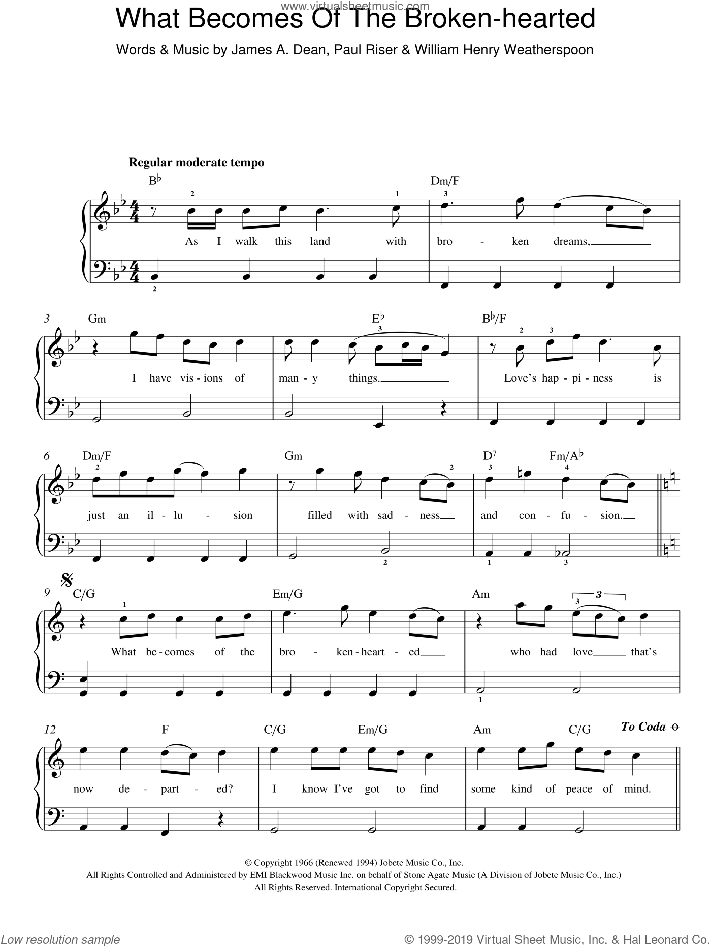 What Becomes Of The Brokenhearted ? sheet music for piano solo by Jimmy Ruffin, James Dean, Paul Riser and William Weatherspoon, easy skill level