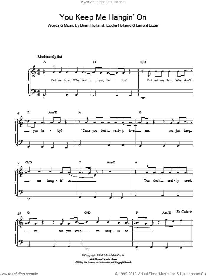 You Keep Me Hangin' On sheet music for piano solo by The Supremes, Brian Holland, Eddie Holland and Lamont Dozier, easy skill level