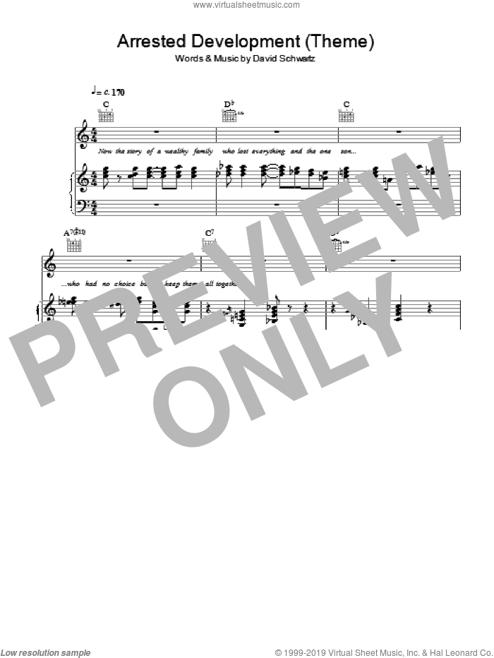 Arrested Development (Main Title) sheet music for voice and piano by David Schwartz, intermediate skill level